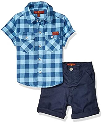 7 For All Mankind Baby Sleeve Plaid Sport Shirt and Twill Short Set, Little Boy Blue Gingham/Navy, 12M