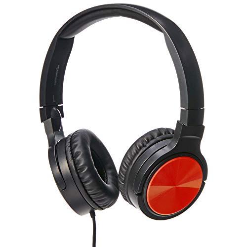 Amazon Basics - auriculares supraurales ligeros, Rojo