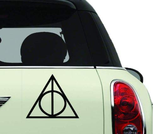 HavenSticks Deathly Hallows H@rry P0tter 4' Tall Decal Sticker for Car Window, Laptop, Motorcycle, Walls, Mirror etc (Black)