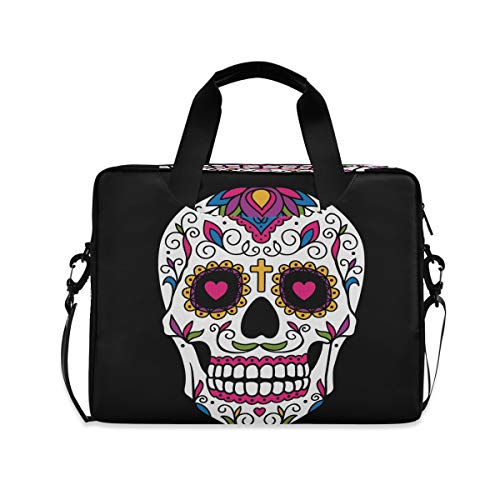 ALARGE Laptop Case Sleeve Mexican Floral Sugar Skull 15-16 inch Briefcase Travel Tote Messenger Notebook Computer Crossbody Bag with Strap Handle for Women Men