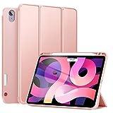 ZtotopCase Coque pour Nouveau iPad Air 4ème Génération 10,9 Pouces 2020, Étui en TPU Souple avec Porte-Crayon, Support à Trois Plis avec Fonction de Veille/Réveil Auto pour iPad Air 10.9 2020, Rose