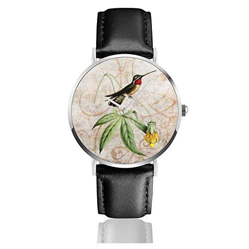 Vintage Star Throat Kolibri Uhr Quarzwerk Wasserdichtes Leder Uhrenarmband für Männer Frauen Einfache Business Casual Uhr