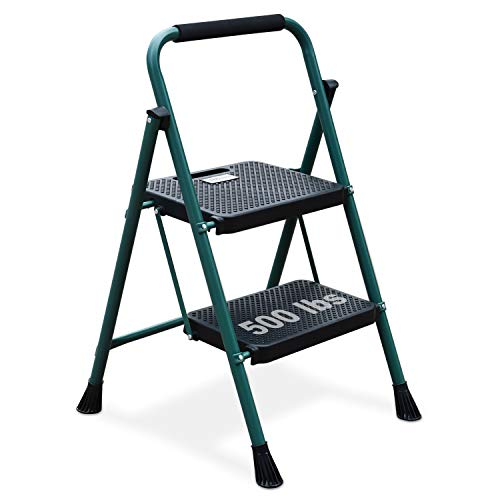 2 Step Ladder, Folding Step Stool with Wide Anti-Slip Pedal, Sturdy Steel Ladder, Convenient Handgrip, Lightweight 500lbs Portable Steel Step Stool, Green and Black