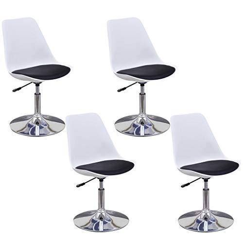 vidaXL 2X Chaise de Salle à Manger Pivotante Hauteur Réglable Noir et Blanc