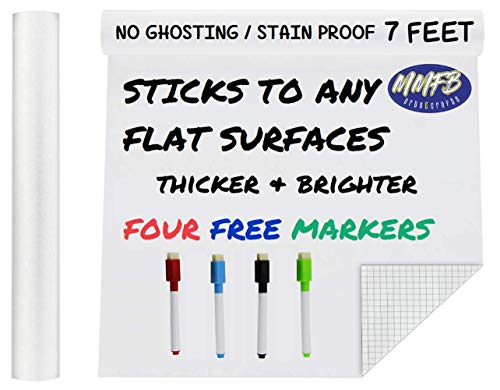 MMFB Arts & Crafts Extra Large Thicker Whiteboard Banner Vinyl Adhesive Paper Wall Decal Poster (7 FEET) Message Paint Alternative w/Markers - Peel & Stick Wallpaper Die Cut Shape Silhouette