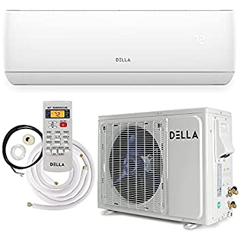 Della 18000 BTU Mini Split Air Conditioner Ductless Inverter System 17 SEER 208-230V with 1.5 Ton Heat Pump Pre-Charged Condenser and Full Installation Accessories Kit AHRI