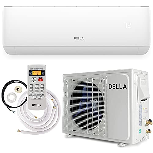 Della 18000 BTU Mini Split Air Conditioner Ductless Inverter System 17 SEER 208-230V with 1.5 Ton Heat Pump, Pre-Charged Condenser and Full Installation Accessories Kit AHRI