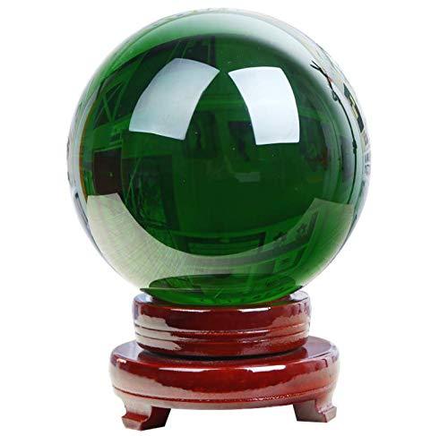 Natuurlijke groene kristallen bol met houten sokkel en geschenkdoos voor decoratieve bal lensbal fotografie Fengshui 8cm(3inch) groen