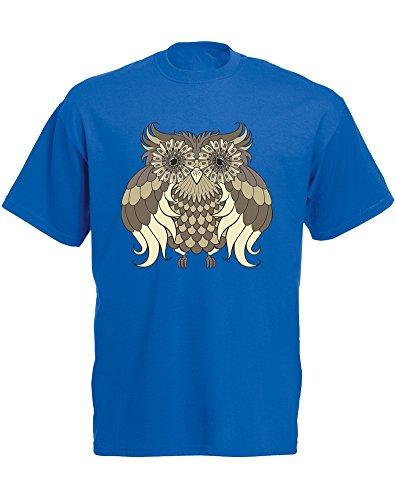 Brand88 - Camiseta de manga corta para hombre, diseño de búho, color azul y negro