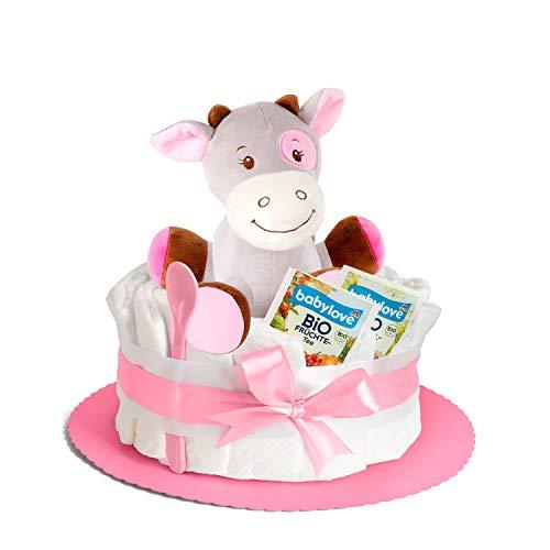 Windeltorte in Rosa mit Spieluhr von Homery, perfekt als Geschenk für Mädchen zur Baby-Party oder Geburt – Inklusive Glückwunschkarte, Bio Tee und Babylöffel - Handmade fair hergestellt