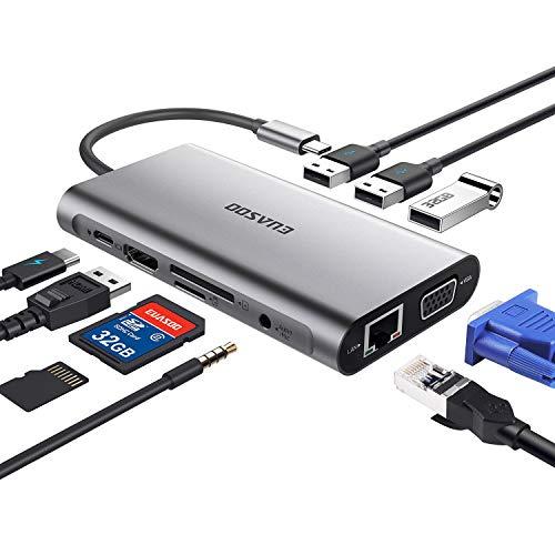 EUASOO HUB USB C Adattatore 10 in 1 in Alluminio per Porte Type C con Uscita HDMI 4K, Gigabit Ethernet RJ45, 1080P VGA, 3.5mm Audio Output, 3 USB 3.0, Lettore schede SD/TF per dispositivi USB C