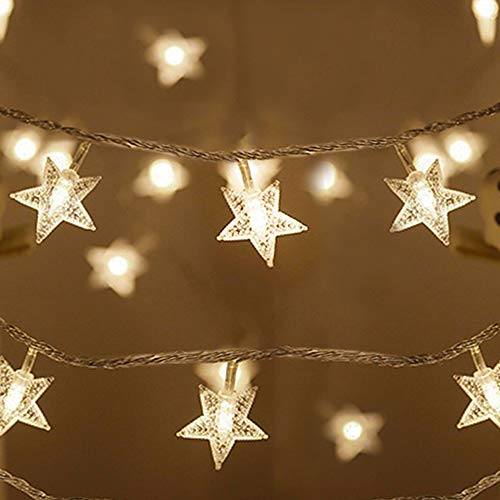 Koxly Christmas Star String Lights 49 Ft 100 LED 8 Modes Plug in Twinkle Light with Remote Control Fairy Lights for Bedroom Indoor Outdoor Christmas Xmas Tree Room Decor Warm White and Cool White