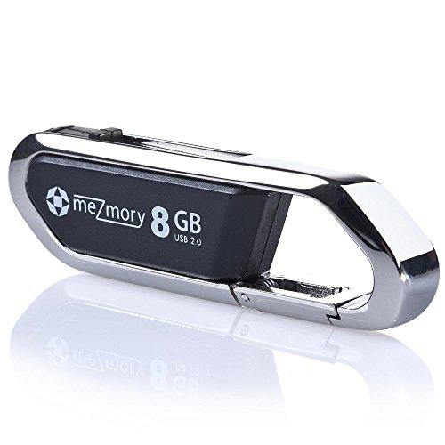 meZmory Karabiner USB Stick 8GB Schwarz - Extrem Robust, Clip-Funktion, Wasserdicht - Ideal für Outdoor Aktivitäten & Schlüssel-Anhänger - Haltbarer Speicherstick USB 2.0 Flash Drive
