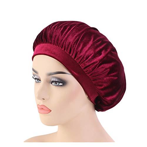 HHSUU Mujeres Amplia Velvet Bonnet Sleep Turban Hat Cancer Chemo Gories Cap (Color : Burgundy)
