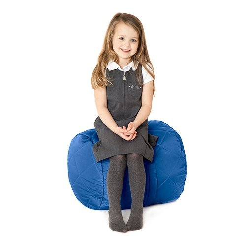 Fun!ture Quilted Round Kids Bean Bag | Outdoor Indoor Living Room Childrens Cylinder Beanbag Seating | Water Resistant | Vibrant Play Kids Colour Seat (Blue)