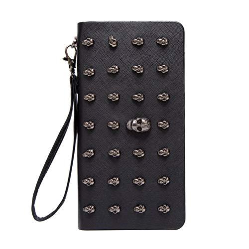 Lurrose Moda esqueleto mujeres efectivo titular manija teléfono caja cremallera monedero monedero para señoras al aire libre