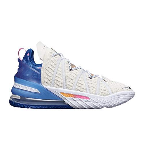 Nike Zapatos Hombre Lebron 18 Los Angeles by Day DB8148-200, (Crema clara/Game Royal/Spiral Sage/Pink Glow), 45 EU