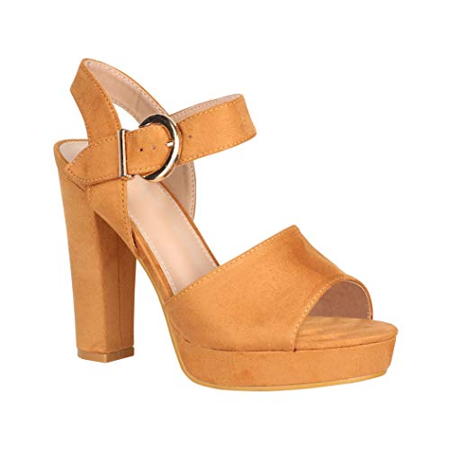 Elara Damen Pumps High Heels Chunkyrayan B-89 Camel-41