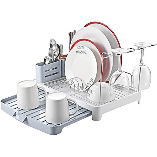 LPWCAWL Dish Drainer,Dish Rack Stainless Steel,Dish Drying Rack with Extendable Drip Tray,Cutlery Holder Wine Glass Holder,Double Plate Rack Drainer for Kitchen