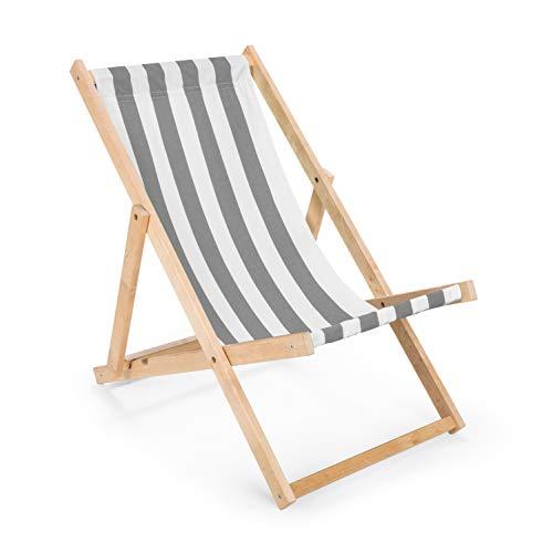 IMPWOOD Gartenliege aus Holz Liegestuhl Relaxliege Strandliege Holzliege (Grau-Weiß gestreift)