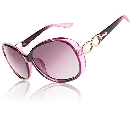 CGID Retro Großer Rahmen Designer Oversized Damen Sonnenbrille für Frauen Polarisiert Sonnen Brille UV Sonnenbrille Brille mit Strasssteinen Farbverlauf Lila Gläser MJ85