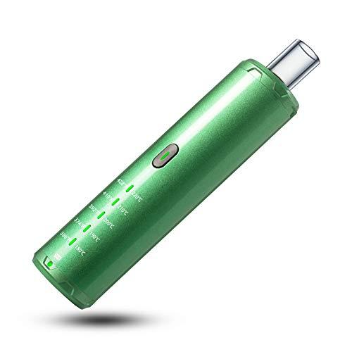 Vaporizador vaporizador pluma vaporizador hierbas 1600mAh batería, flujo de aire aislado, con boquilla de vidrio y control de temperatura ajustable con precisión sin nicotina (Verde)