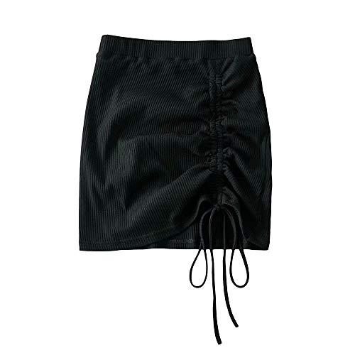 WGGY Falda Mujer Mini,Falda Acampanada De Cintura Alta con Cordón Lateral Negro Verano Sexy Punk Goth Falda...