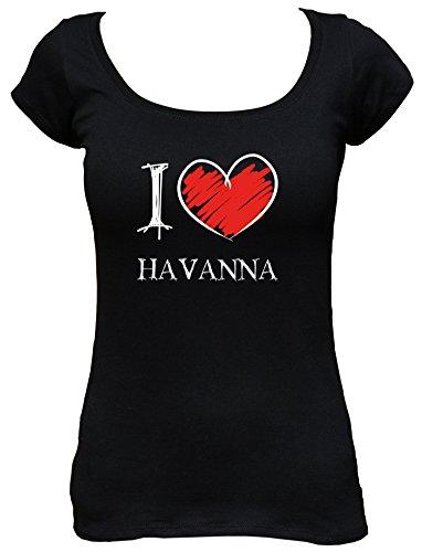 I Love Havanna Fun Damen Boat Neck T-Shirt, Größe:L;Farbe:schwarz