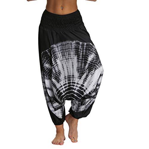 Lazzboy Frauen Beiläufige Lose Yoga Hosen Baggy Boho Jumpsuit Pants Damen Haremshose Aladinhose Leichte Rock Lang OneSize Viele Farben(Grau,M)
