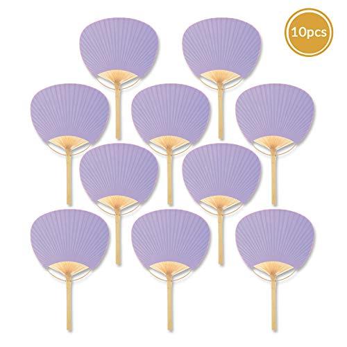 "Quasimoon PaperLanternStore.com 9"" Lavender Paddle Paper Hand Fans for Weddings (10 Pack)"