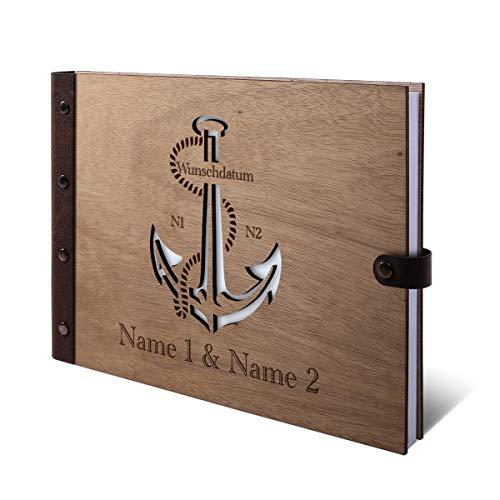 Gastenboek Okoume houten gravure met houten kaft van echt leer, 72 vellen, 144 pagina's A4 liggend, 305 x 215 mm, kleur anker Holzcover Buch quer (302 x 215 mm)
