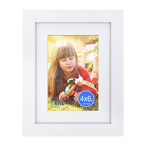 RPJC 6x8 inch Picture Frame Made of Solid Wood and High Definition Glass Display Pictures 4x6 with Mat or 6x8 Without Mat for Wall Mounting Photo Frame White
