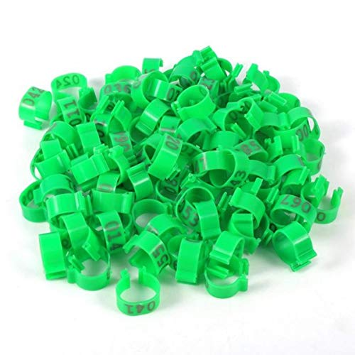 100PCS/Bag 16mm Chicken Leg Rings Chicken Identification Leg Bands Numbered Tag On Poultry Ankle Bands for Gamefowl Chicken Duck Goose(Green)