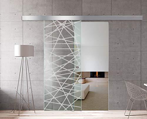 Modern Glass Art - Puerta de cristal deslizante para Boss de diseño interior - Cristal de seguridad templado de diamante de 8 mm de grosor, nano revestido, accesorios de acero inoxidable SS304, blanco