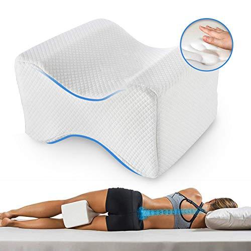 Kniekissen für Seitenschläfer, Orthopädisches Kniekissen/Beinkissen zum Schlafen auf der Seite mit Memory-Schaum, Schwangerschaft Kniestützkissen Weiß