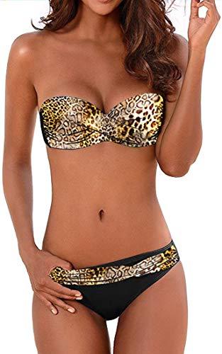 PANOZON Donna Costume da Bagno Bikini 2 Pezzi Gradienti di Colori Allacciatura alla Nuca(Large, C Leopardo-1)