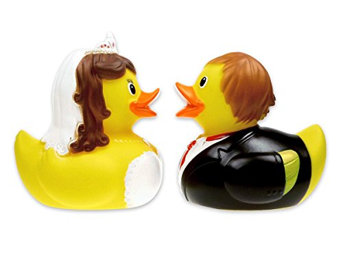 Badeenten Brautpaar Berta & Berthold / Quietscheenten Set, Hochzeitsgeschenk Premium Qualität Close Up®