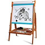 Agirlgle Art Easel for Kids Made of Bamboo Double-Sided Whiteboard & Chalkboard Standing Easel Kids Painting and Drawing with Bonus Paper Roll Magnetics Alphabet and Other Accessories