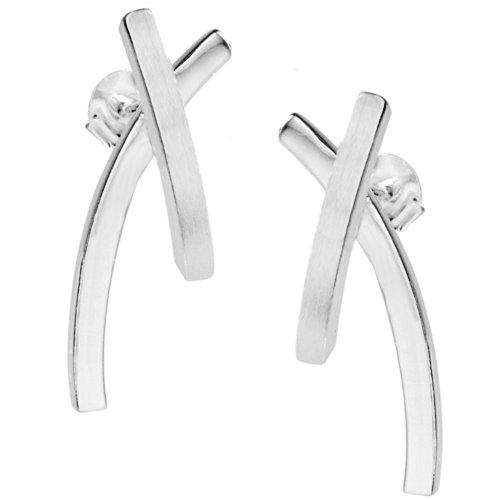 Vinani Ohrstecker Linien gekreuzt groß mattiert glänzend Sterling Silber 925 Kreuz Ohrringe OEX