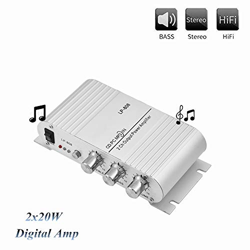 Mini eindversterker, 2x20W 2-kanaals HiFi stereo bas auto audio eindversterker, digitale versterker, cinch & 3,5 mm audio-ingang, ondersteunt mobiele telefoons, dvd-spelers, computers, MP3 / MP4