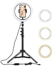 ESR Led 環形燈 自拍燈 三腳架支架 & 帶耳機功能 可調美容環形燈 10英寸 Vlog、自拍、化妝、現場流媒體、視頻拍攝 可適用于iPhone 和Android兩種