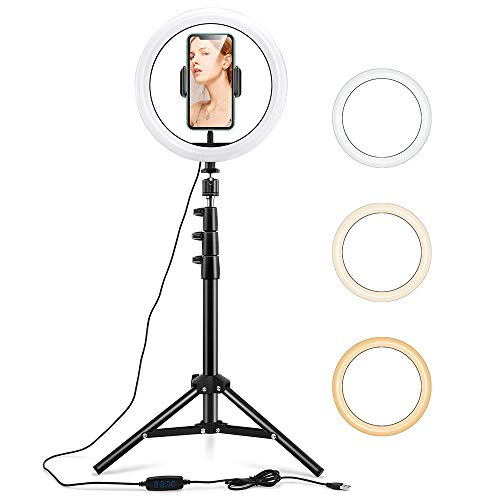 ESR Selfie Ringleuchte mit Dreibeinstativ & Handyhalter, 3 Farbe 10 Helligkeitsstufen 6500K Dimmbares LED Ringlicht, anpassbares Beauty Ringlicht für Vlog, Selfies, Make-Up, Streaming, Video und Fotos