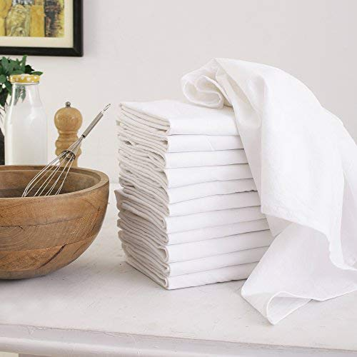 DG Collections Flour Sack Dish Towels, 100% Cotton, Set of 12 (27x27 Inches), Multi-Purpose Vintage Kitchen Towels, Very Soft,Highly Absorbent, Lint Free, Pre-Washed Tea Towels for Embroidery- White