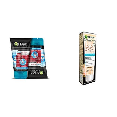Garnier PureActive Gel Limpiador y Exfoliante Facial Carbón 3 en 1 - 2 unidades + Garnier BB Cream Matificante Anti Imperfecciones para Pieles Mixtas a Grasas, Tono Medio SPF20, con Vitamina C - 40 ml