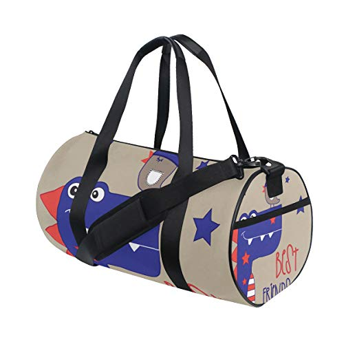 MIFSOIAVV Travel Duffel Bag Cartoon Dinosaur Bird Vector Illustration Best Sports Lightweight Canvas Gym Luggage Handbag Overnight Weekend Bag for Men Women