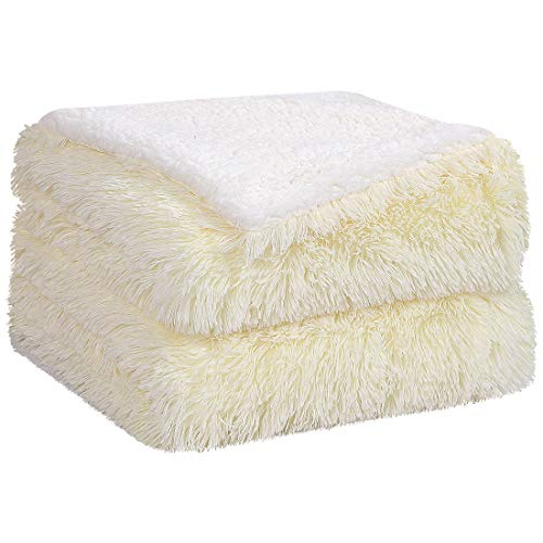 PiccoCasa Faux Fur Blanket Twin Size Pale Yellow Soft Warm Reversible Sherpa Blanket Luxury Shaggy Plush Fluffy Fleece Blankets for Sofa, Couch and Bed,60x80 Inch