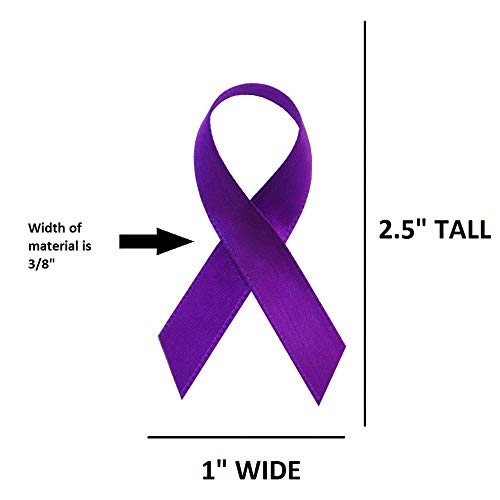 USA (American) Made 250 Purple Satin Awareness Ribbons - Bag of 250 Fabric Ribbons with Safety Pins (Many Colors Available)