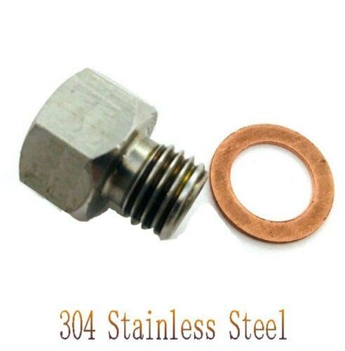 Single Banjo Bolt 20mm Length Universal Stainless Steel M10x1.0 Metric Thread Banjo Bolts Brake Fitting Adapter with M10 Copper Washers