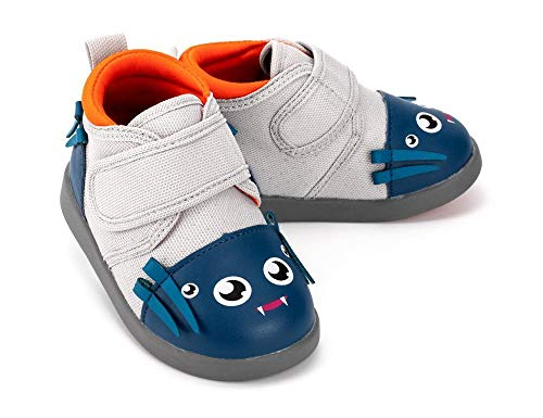 ikiki Spider Squeaky Shoes for Toddlers w/Adjustable Squeaker, Gray Girl or Boy Shoes (Size 9, Silk Von Webster)