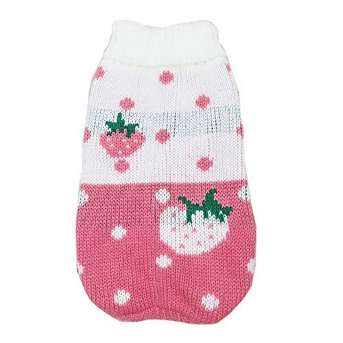 LIUCHANG Lindo suéter de perro pequeño de dibujos animados ropa de invierno caliente para mascotas ropa para perros cachorro traje (color: rosa fresa, tamaño: 6) liuchang20
